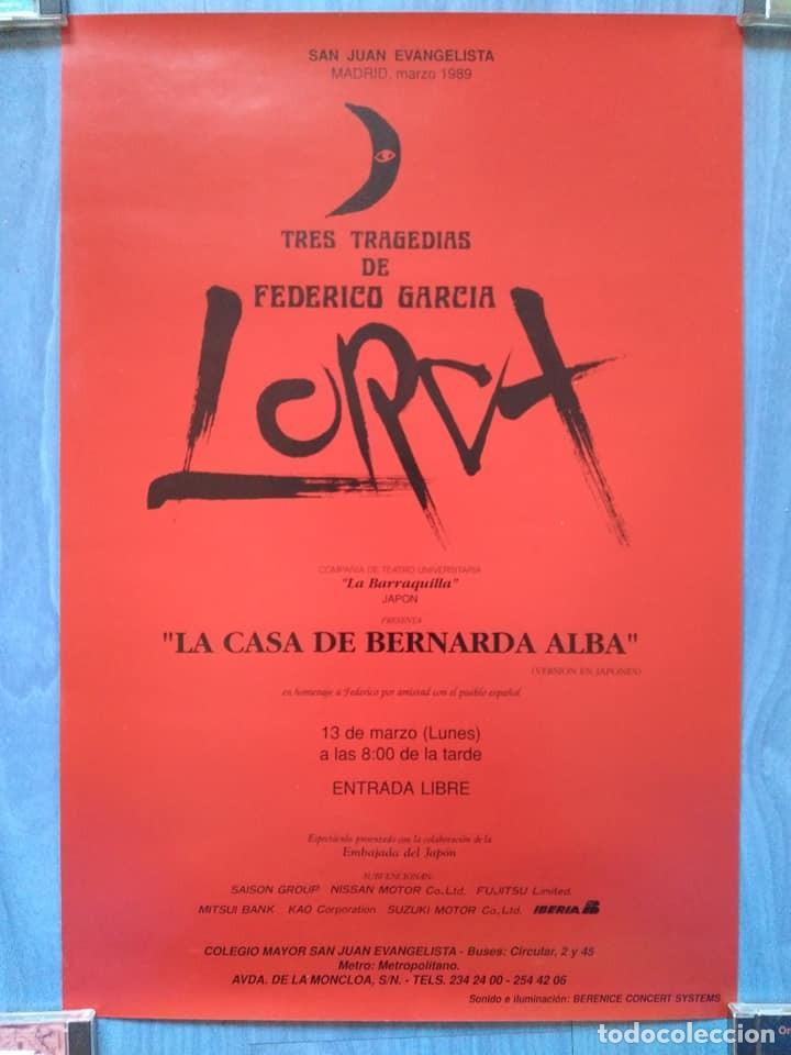 Carteles Espectáculos: Federico García Lorca. La casa de Bernarda Alba. La Barraquilla Japón. CMU San Juan Evangelista 1989 - Foto 2 - 233391400