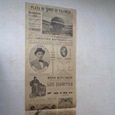 Carteles Espectáculos: PLAZA DE TOROS DE VALENCIA.1917.GLOBO.....T-073. Lote 43509651
