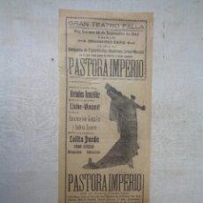Carteles Espectáculos: PASTORA IMPERIO.COMPAÑIA DE ESPECTACULOS MODERNOS. GRAN TEATRO FALLA.CADIZ.C-246. Lote 234363320