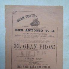 Carteles Espectáculos: GRAN TEATRO FALLA.CADIZ.DON ANTONIO VICO.EL GRAN FILON.-247. Lote 234369760