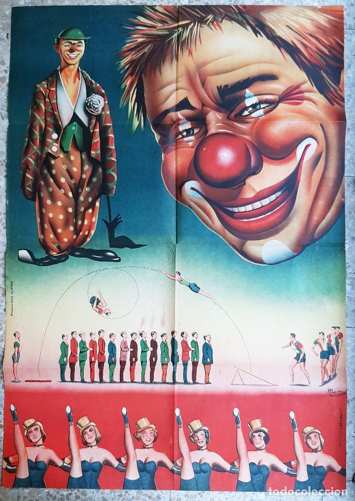 ANTIGUO CARTEL DE CIRCO PAYASOS Y ACROBATAS LITOGRAFIA MARZAL ORIGINAL (Coleccionismo - Carteles Gran Formato - Carteles Circo, Magia y Espectáculos)