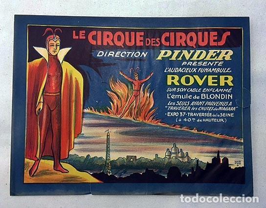 CIRCO PINDER PRESENTE L´AUDIEUX FUNAMBULE ROVER. (C 1950) CARTEL DE CIRCO. FRANCIA (Coleccionismo - Carteles Gran Formato - Carteles Circo, Magia y Espectáculos)