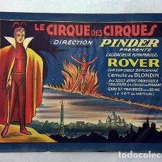 Carteles Espectáculos: CIRCO PINDER PRESENTE L´AUDIEUX FUNAMBULE ROVER. (C 1950) CARTEL DE CIRCO. FRANCIA. Lote 235060155