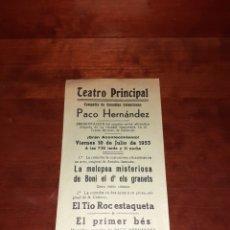 Affissi Spettacoli: CARTEL ORIGINAL TEATRO PRINCIPAL DE ALICANTE 1953. Lote 239411535