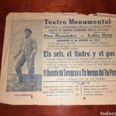 Affissi Spettacoli: CARTEL ORIGINAL TEATRO MONUMENTAL ALICANTE 1935. Lote 239411740