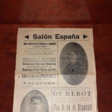 Affissi Spettacoli: CARTEL ORIGINAL TEATRO SALÓN ESPAÑA 1933. Lote 239412730
