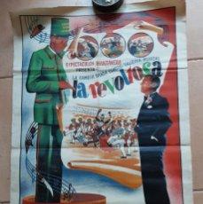 Carteles Espectáculos: CARTEL DE LA FAMOSA BANDA CÓMICO TAURINA MUSICAL LA REVOLTOSA, PLAZA DE TOROS DE TOBARRA, 1958. Lote 244660135