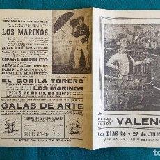 Carteles Espectáculos: CARTEL PLAZA TOROS DE VALENCIA (1950) GALAS DE ARTE, AREVALO EN CANTINFLAS, EL GORILA TORERO... - RW. Lote 245059130