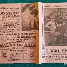 Carteles Espectáculos: CARTEL PLAZA TOROS DE VALENCIA (1950) GALAS DE ARTE, AREVALO EN CANTINFLAS, EL GORILA TORERO... - RW. Lote 245059400