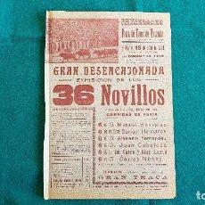 Carteles Espectáculos: CARTEL PLAZA TOROS DE VALENCIA (1950) EXHIBICION DE LOS 36 NOVILLOS DE LA CORRIDA DE FERIAS - RW. Lote 245153570