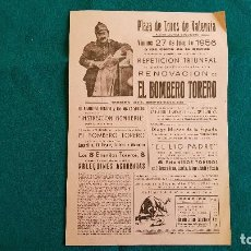 Carteles Espectáculos: CARTEL PLAZA TOROS DE VALENCIA (1956) EL BOMBERO TORERO Y LOS 8 ENANITOS, ARLEQUINES ACROBATAS - RW. Lote 245154215