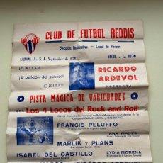 Carteles Espectáculos: CLUB DE FUTBOL REDDIS CARTEL VARIEDADES LOS 4 LOCOS ROCK AND ROLL DE 1959 RICARDO ARDEVOL. Lote 245253495