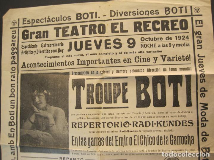 Carteles Espectáculos: CARTEL PUBLICIDAD ESPECTACULOS BOTI-AÑO 1924-TROUPE BOTI-CINE Y OTROS-VER FOTOS-(K-2072) - Foto 2 - 248293440