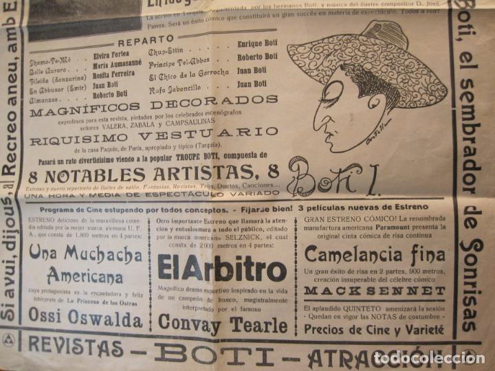 Carteles Espectáculos: CARTEL PUBLICIDAD ESPECTACULOS BOTI-AÑO 1924-TROUPE BOTI-CINE Y OTROS-VER FOTOS-(K-2072) - Foto 3 - 248293440
