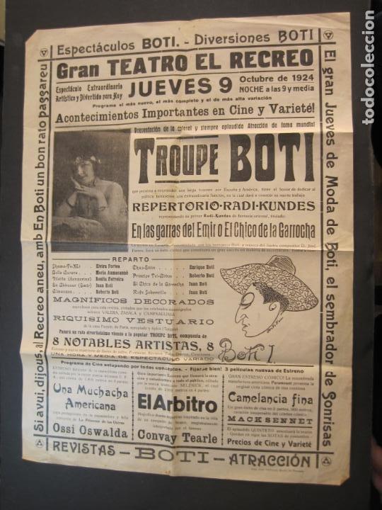 CARTEL PUBLICIDAD ESPECTACULOS BOTI-AÑO 1924-TROUPE BOTI-CINE Y OTROS-VER FOTOS-(K-2072) (Coleccionismo - Carteles Gran Formato - Carteles Circo, Magia y Espectáculos)