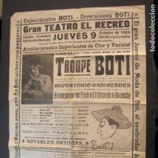 Carteles Espectáculos: CARTEL PUBLICIDAD ESPECTACULOS BOTI-AÑO 1924-TROUPE BOTI-CINE Y OTROS-VER FOTOS-(K-2072). Lote 248293440