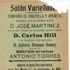 Affissi Spettacoli: SANLUCAR DE BARRAMEDA, 1914, CARTEL SALON VARIEDADES, TEATRO,EL CONDE DE LUXEMBURGO, 105X310MM. Lote 261669300