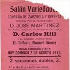 Carteles Espectáculos: SANLUCAR DE BARRAMEDA, 1914, CARTEL SALON VARIEDADES, TEATRO,EL SEXO DEBIL, 105X310MM. Lote 261669420