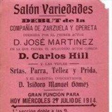 Affissi Spettacoli: SANLUCAR DE BARRAMEDA, 1914, CARTEL SALON VARIEDADES, TEATRO,EL PATINILLO, 105X310MM. Lote 261669490
