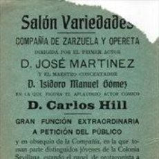 Carteles Espectáculos: SANLUCAR DE BARRAMEDA, 1914, CARTEL SALON VARIEDADES, TEATRO,DON JUAN TENORIO, 105X310MM. Lote 261670170
