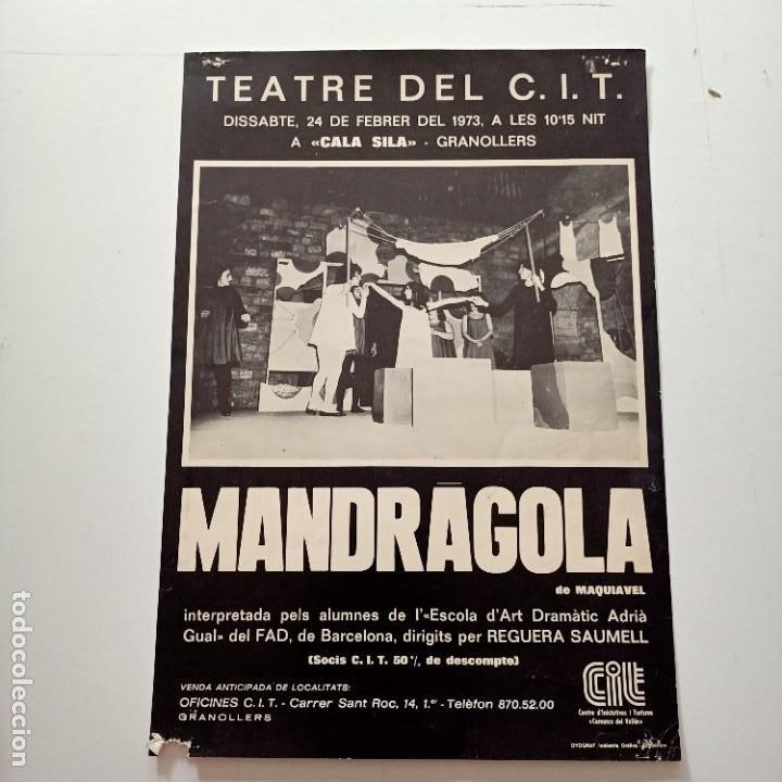 CARTEL MANDRAGOLA, TEATRE DEL C.I.T, 1973, 42 X 29 CM (Coleccionismo - Carteles Gran Formato - Carteles Circo, Magia y Espectáculos)