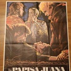 Carteles Espectáculos: CARTEL CINE LA PAPISA JUANA, 1977, 100 X 70 CM, PLEGADO. Lote 279593383