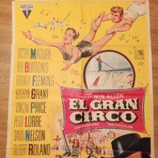 Carteles Espectáculos: CARTEL CINE EL GRAN CIRCO, 1959, 100 X 70 CM, PLEGADO. Lote 279829828