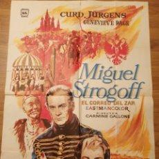 Carteles Espectáculos: CARTEL CINE MIGUEL STROGOFF, 1971, 100 X 70 CM, PLEGADO. Lote 279939693