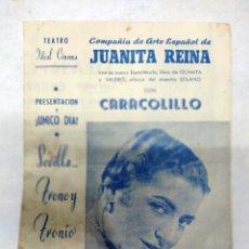 Carteles Espectáculos: TEATRO IDEAL CALAHORRA.1959-JUANITA REINA. CON CARACILILLO VER FOTOS.PACO Y LOLA REINA.. Lote 287341508