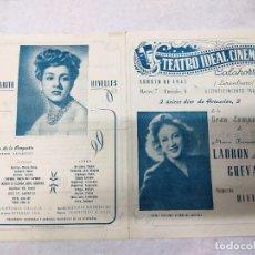Carteles Espectáculos: TEATRO IDEAL CALAHORRA.1945.AMPARITO RIVELLES.MANCHA QUE LIMPIA.LA MUJER X. Lote 287342703