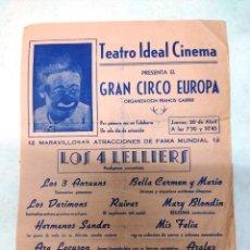 Carteles Espectáculos: GRAN CIRCO EUROPA CARTEL AÑOS 30. MIGUELIN,LENTEJILLA Y CAÑAMON.TEATRO IDEAL CALAHORRA LA RIOJA.. Lote 287343363
