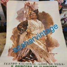 Carteles Espectáculos: SEVILLA, 1980, RARISIMO CARTEL II QUINCENA DE FLAMENCO Y MUSICA ANDALUZA, UNICO, 50X70 CMS. Lote 287845983