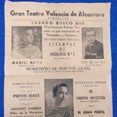Carteles Espectáculos: CARTEL ESPECTACULO DE VARIEDADES Y FLAMENCO. GRAN TEATRO VALENCIA DE ALCANTARA. ALMUÑECAR.. Lote 294383933