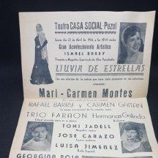 Carteles Espectáculos: CARTEL PUZOL LLUVIA DE ESTRELLAS 1954 A828. Lote 295351878