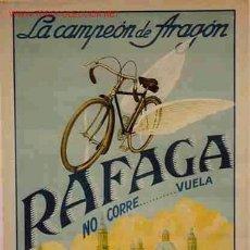 Coleccionismo deportivo: CARTEL PUBLICIDAD BICICLETAS RAFAGA ,CAMPEON DE ARAGON, AL FONDO LA PILARICA, ZARAGOZA ,RB. Lote 205005686