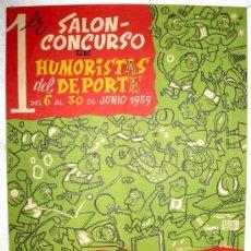 Coleccionismo deportivo: CARTEL 1º SALON CONCURSO HUMORISTAS DEL DEPORTE, CON PUBLICIDAD PATROCINADORA DE MOTOS MOBILETTE. Lote 19218638