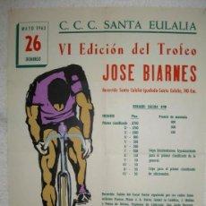 Collectionnisme sportif: CARTEL CICLISMO CCC SANTA EULALIA IBIZA 1963, TROFEO JOSE BIARNES , PATROCINA COCA COLA. Lote 40554288