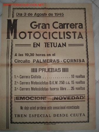 CARTEL DE LA GRAN CARRERA MOTOCICLISTA EN TETUAN,3 DE AGOSTO DE 1945 (Coleccionismo Deportivo - Carteles otros Deportes)