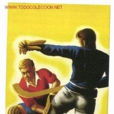 Coleccionismo deportivo: CARTEL 1954 HOCKEY SOBRE PATINES, AÑOS 1940 ILUSTRADO POR E. YELO. VALENCIA. Lote 27314997