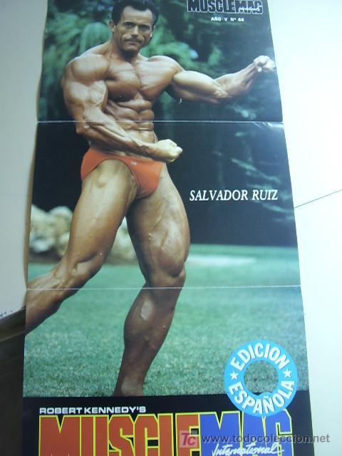 POSTER DEL CULTURISTA SALVADOR RUIZ. REVISTA MUSCLEMAG EDICIÓN ESPAÑOLA. MEDIDAS 27,5X55CMS (Coleccionismo Deportivo - Carteles otros Deportes)