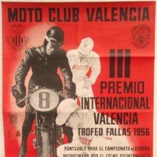 Coleccionismo deportivo: CARTEL MOTOS, MOTO CLUB VALENCIA , 1956 ,CAMPEONATO DE ESPAÑA. Lote 27314996