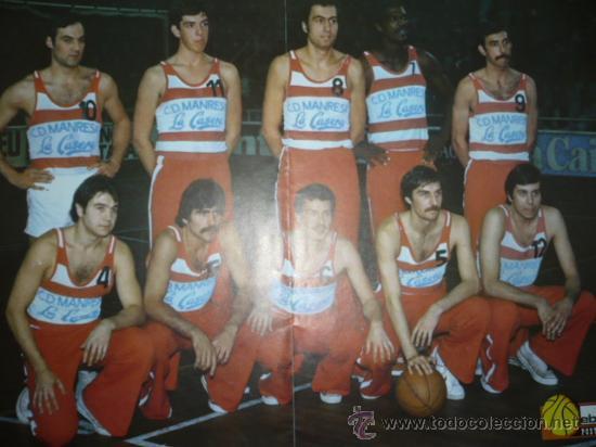 CARTEL DEPORTIVO DE BALONCESTO C.D. MANRESA LA CASERA TEMPORADA 1975-76 (Coleccionismo Deportivo - Carteles otros Deportes)