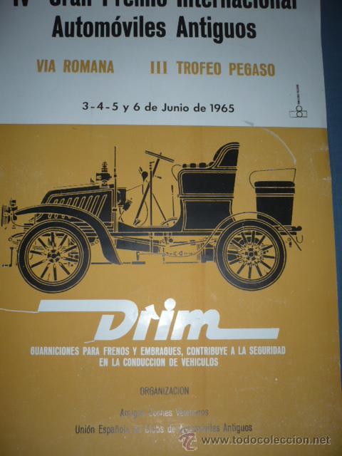 CARTEL DEPORTIVO IV GRAN PREMIO INTERNAL. AUTOS ANTIGUOS 1965 TAMAÑO 600X400 (Coleccionismo Deportivo - Carteles otros Deportes)