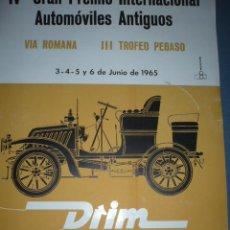 Coleccionismo deportivo: CARTEL DEPORTIVO IV GRAN PREMIO INTERNAL. AUTOS ANTIGUOS 1965 TAMAÑO 600X400. Lote 10860518