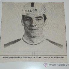 Coleccionismo deportivo: CICLISMO : RECORTE DE YATES. 1988. Lote 12624045