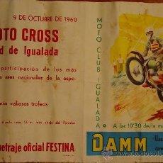 Coleccionismo deportivo: I MOTOCROSS CIUDAD DE IGUALADA. OCUBRE 1960. . Lote 27230107