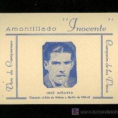 Coleccionismo deportivo: CICLISMO. FOTOGRAFIA PUBLICITARIA DEL CAMPEON CICLISTA DE MALAGA Y MELILLA DE 1939-40 JOSE MIÑARRO.. Lote 23346596