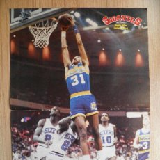 Coleccionismo deportivo: POSTER REGGIE MILLER (PACERS) HACIENDO UN MATE CONTRA SIXERS - NBA BASKET REVISTA GIGANTES. Lote 21818221