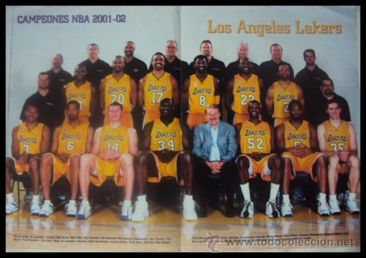 LOS ANGELES LAKERS CAMPEONES NBA 2001-2002. PÓSTER (Coleccionismo Deportivo - Carteles otros Deportes)