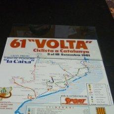 Coleccionismo deportivo: CARTELL 44 X 30 CTMS. 61 VOLTA CICLISTA A CATALUNYA. SETEMBRE DE 1981. Lote 22685011